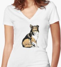 Collie Women's Fitted V-Neck T-Shirt