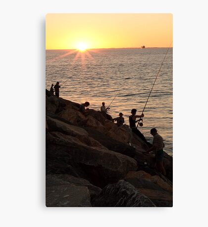Fishing At Sunset Canvas Print