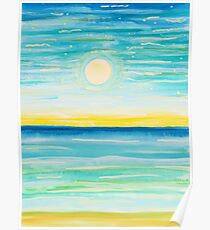 Watercolor Moonlight Seascape Night Sky Poster