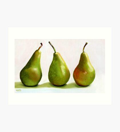 Three Pears Still Life painting Art Print