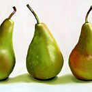 Three Pears Still Life painting by ria hills