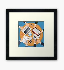 Business Meeting Concept. Top View of Desk with Hands, Gadgets and Documents Framed Print