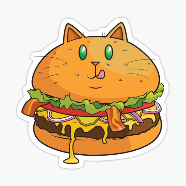 Hamburger Cat Sticker