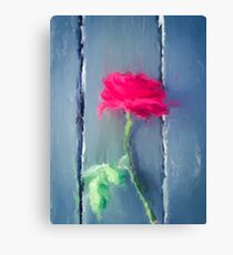painting red rose with green leave on the wood table Canvas Print