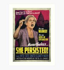 She Persisted - Elizabeth Warren Vintage Movie Poster Art Print