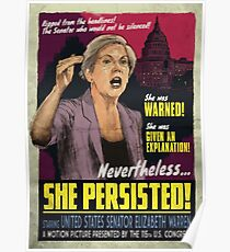She Persisted - Elizabeth Warren Vintage Movie Poster Poster