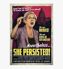 She Persisted - Elizabeth Warren Vintage Movie Poster Photographic Print