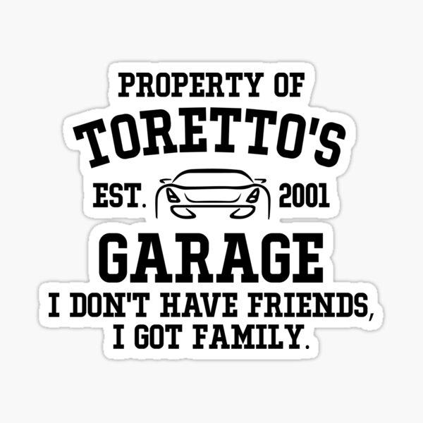 Toretto's Garage Sticker