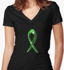 Lyme Disease Awareness Ribbon [3] Women's Fitted V-Neck T-Shirt