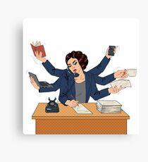 Business Superwoman Pop Art Banner. Woman with Many Hands Doing a Lot of Things Canvas Print