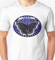 Blue Vintage Butterfly Freedom Oval Unisex T-Shirt