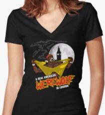 Real American Werewolf Women's Fitted V-Neck T-Shirt