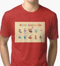 Set of Cute Animals for Decoration and Celebration Childrens Party Tri-blend T-Shirt