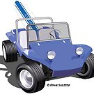 Blue Dune Buggy with Surfboard by Frank Schuster