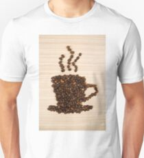 Coffee bean cup on table Unisex T-Shirt