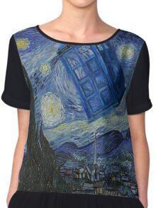 Starry Night Tardis Chiffon Top