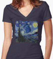 Starry Night Tardis Women's Fitted V-Neck T-Shirt