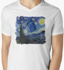 Starry Night Tardis Mens V-Neck T-Shirt