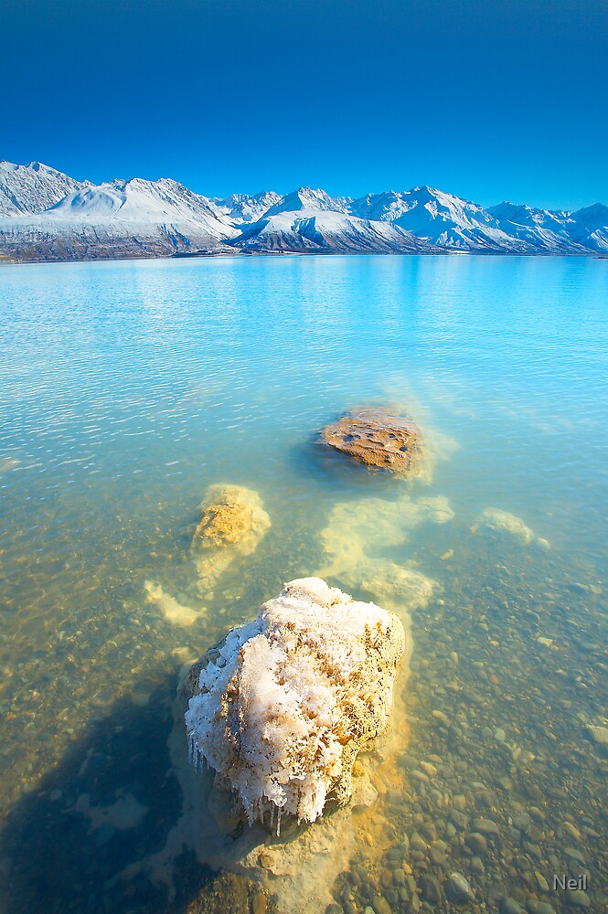 Lake Pukaki with Icicles by Neil