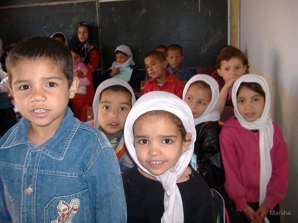 1st graders learn the alphabet in Afghans4Tomorrow School # 2's English class by Marsha