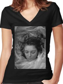 Laura Palmer B&W Women's Fitted V-Neck T-Shirt