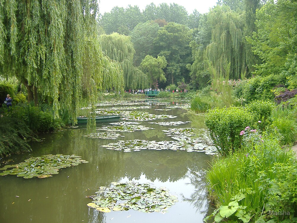 Monet's boat in Water Lily Pond, Giverny Gardens by Marsha