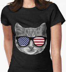 Patriotic Cat Kitten  Womens Fitted T-Shirt