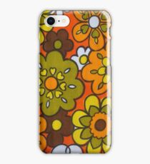 Retro Cool Mid Century Floral Fabric Design in Avocado Green, Harvest Gold, Brown, and Orange iPhone Case/Skin
