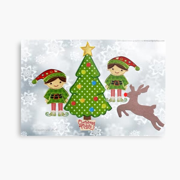 Elves with reindeer at the tree Metal Print