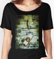 Old retro film camera in creative composition Women's Relaxed Fit T-Shirt