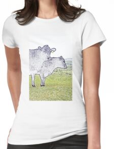 Cley Cows Too C Womens Fitted T-Shirt