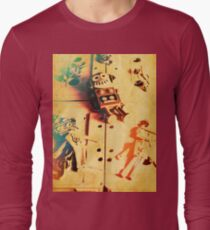 Toy robots on vintage cassettes Long Sleeve T-Shirt