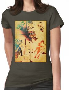 Toy robots on vintage cassettes Womens Fitted T-Shirt