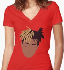 XXXTENTACION Minimal Design - Red Women's Fitted V-Neck T-Shirt