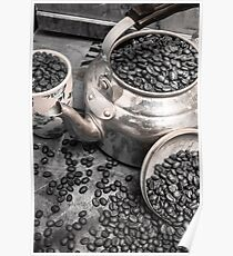 Pot of old coffee beans Poster