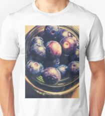 Top down view of ripe blueberries in a jar Unisex T-Shirt