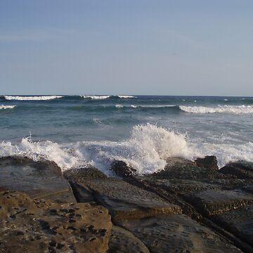 Wave Splash at Rocks Edge by beryl