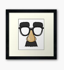Hilarious and Laughable Cartoon Face with Nerd Glasses and Big Nose Tshirt  Framed Print