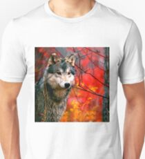 Grey Wolf in Beautiful Red and Yellow Foliage                                            Unisex T-Shirt
