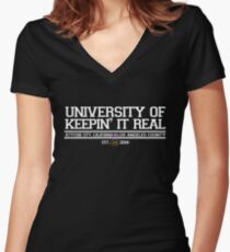 University of Keepin' It Real Women's Fitted V-Neck T-Shirt