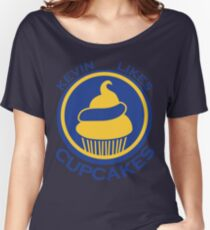 Kevin Likes Cupcakes (Blue/Yellow) Women's Relaxed Fit T-Shirt