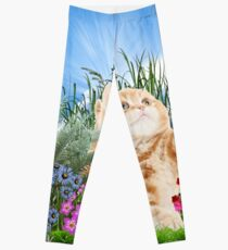 Ginger kitty playing with a butterfly Leggings