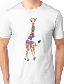Cold Outside - Cute Giraffe Illustration Unisex T-Shirt