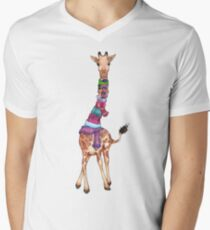 Cold Outside - Cute Giraffe Illustration Men's V-Neck T-Shirt