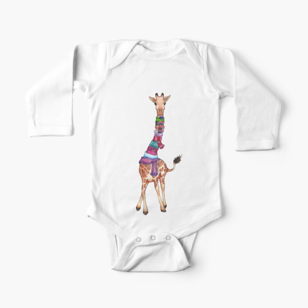 Cold Outside - Cute Giraffe Illustration Baby One-Piece