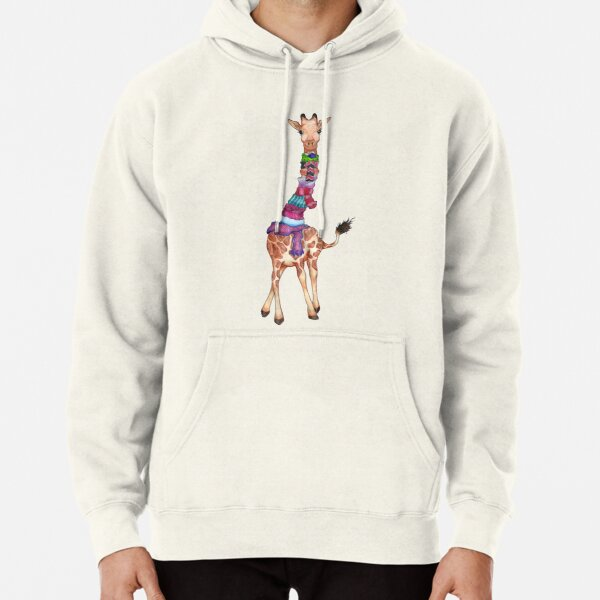 Cold Outside - Cute Giraffe Illustration Pullover Hoodie