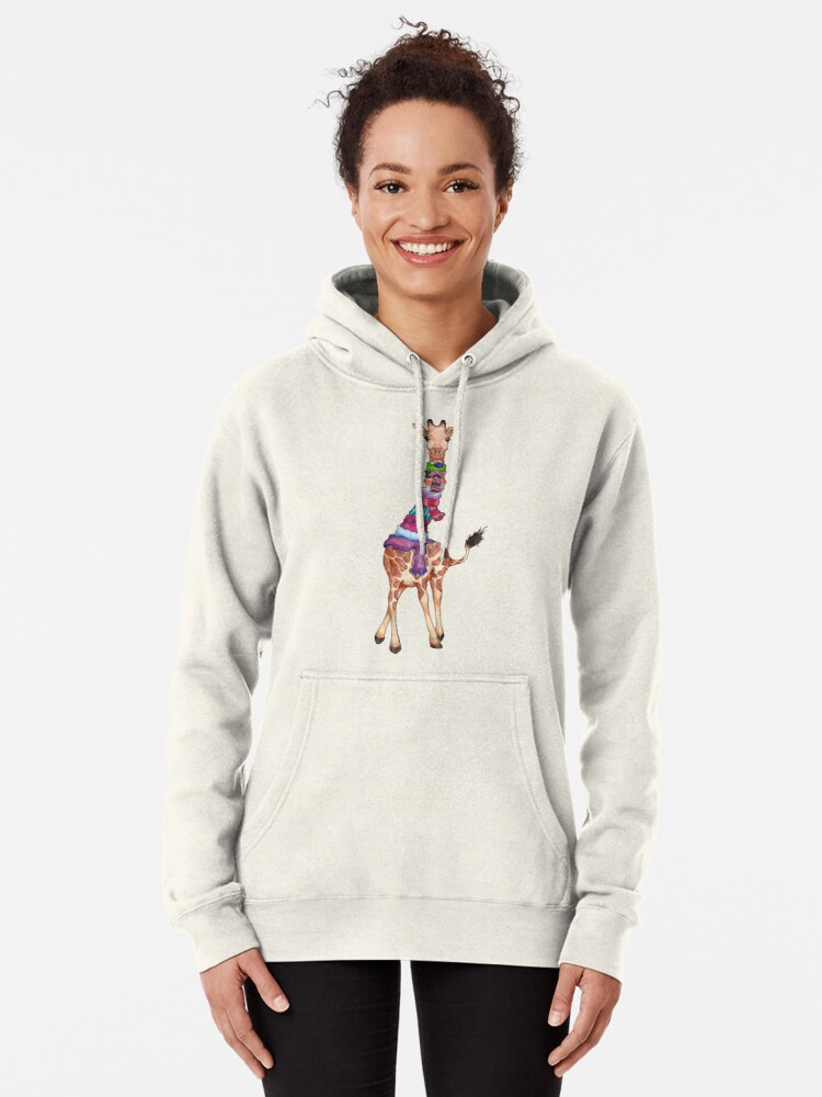 Alternate view of Cold Outside - Cute Giraffe Illustration Pullover Hoodie