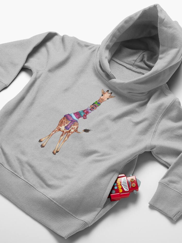 Alternate view of Cold Outside - Cute Giraffe Illustration Toddler Pullover Hoodie