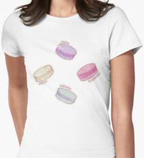 French Macaron Pattern - raspberry, pistachio, lemon & blueberry Womens Fitted T-Shirt