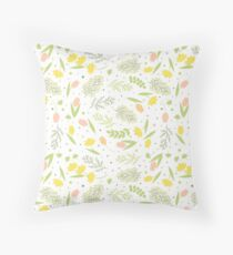 Narcissus, Mimosa and Tulips Throw Pillow